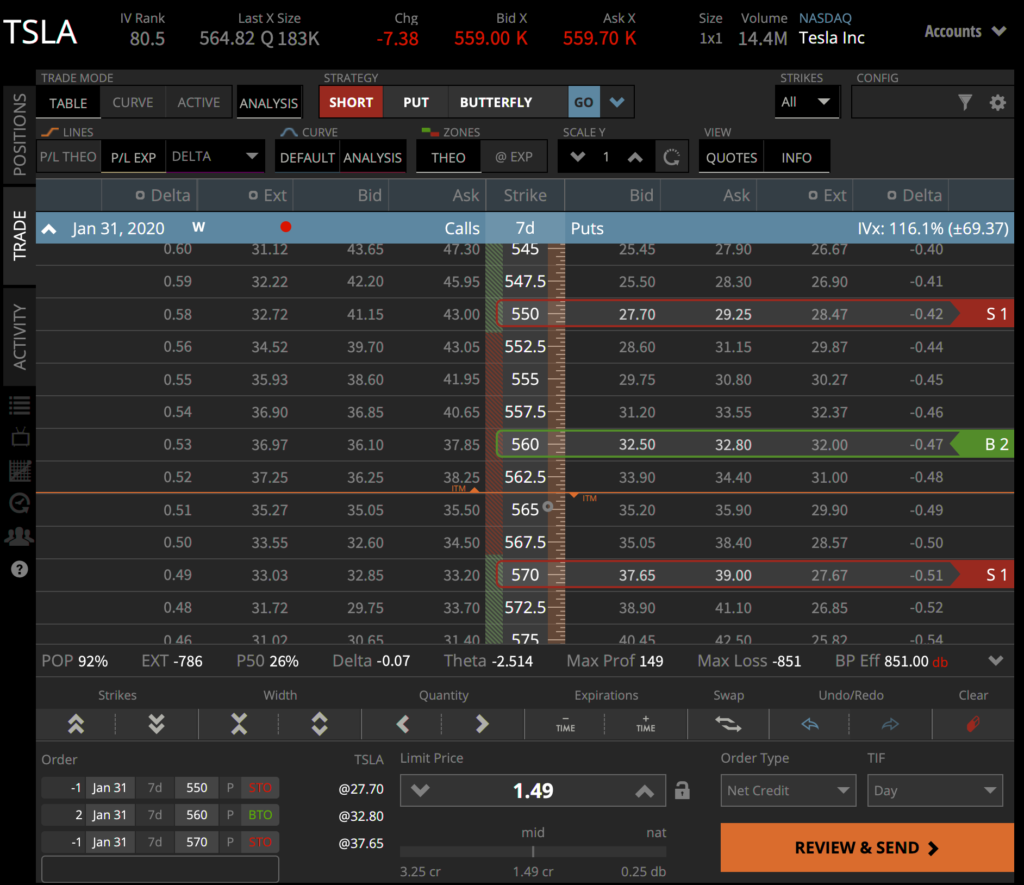 Trade table view - tastyworks